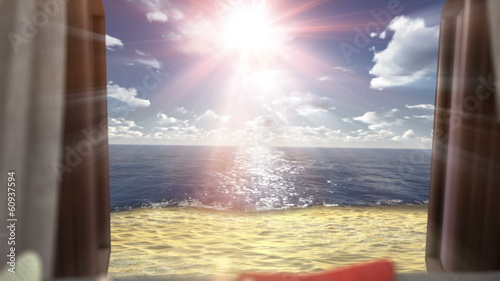 background with open window and ocean beach