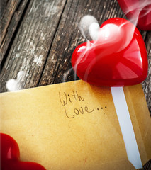 Letter with Smell of Love and Red Heart