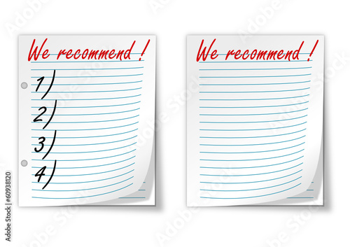 "Lined paper with the words ""we recommend"" - vector"