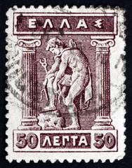 Postage stamp Greece 1911 Hermes Donning Sandals