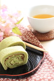 Japanese confectionery, green tea and azuki roll cake