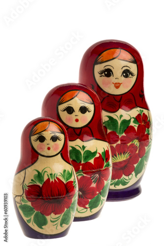Matryoshkas in isolated white background