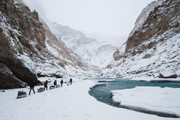 Winter trekking on the frozen Zanskar River in Ladakh
