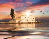 Sunset scene of Vlacherna monastery, Kanoni, Corfu