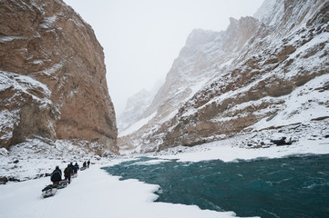 Winter trekking on the frozen Zanskar River in Ladakh