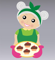 a merry grandmother prepares a delicious dessert