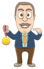 Businessman with a medal on his hand