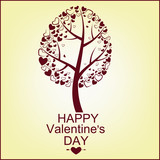 The vector image of a tree with hearts