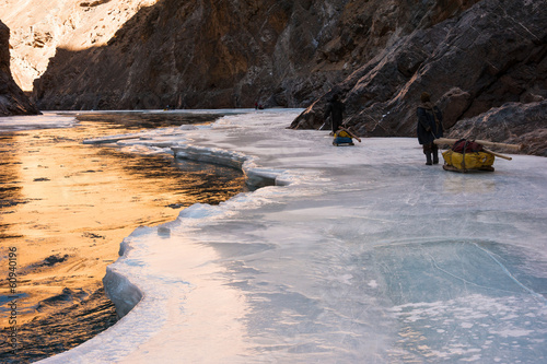 Reflection of sunlight on the frozen Zanskar river, Chadar Trek
