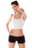 Fitness woman giving thumbs up