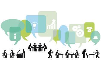 Geschäftsleute besprechen und denken