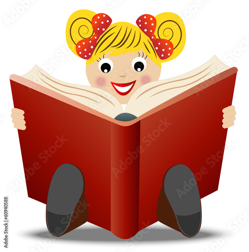 little girl read book