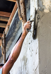 Plastering the poles of the Craftsman house of arms reach