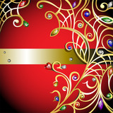 Red background with gold jewerly