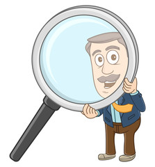 Businessman searching something with magnifying glass