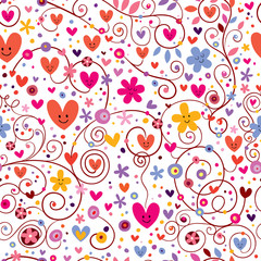hearts & flowers floral pattern