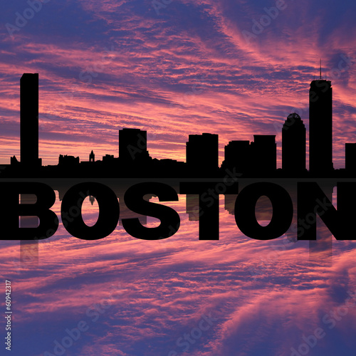 Boston skyline reflected with text on sunset illustration