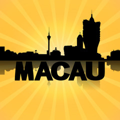 Macau skyline reflected with sunburst illustration
