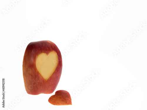Apple slice with heart symbol