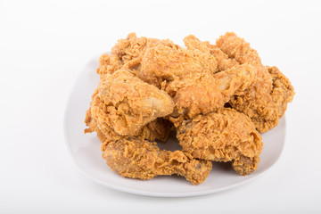 Fresh Plate of Fried Chicken on White Plate