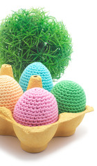 Easter handmade eggs with grass.