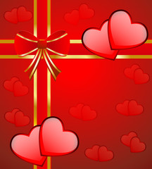 Bright red background with hearts