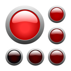 vector red glass buttons