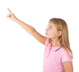 girl pointing up