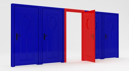 Red door  opened