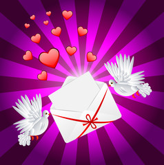 Two white a pigeon is carried envelope