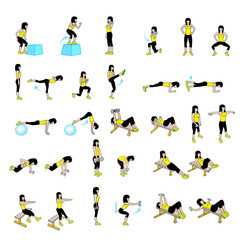 Fitness Exercises Set
