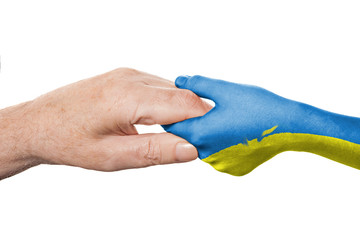 Two hands and Ukrainian flag
