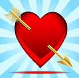 heart pierced by an arrow, postal to the day of saint Valentin