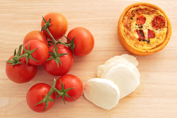 Vine tomatoes, mozzarella, and a tomato and mozzarella tartlet