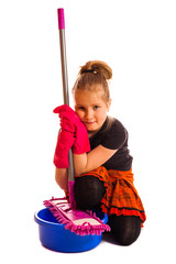 Pretty happy little  girl  with cleaning mop isolated
