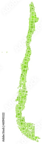 Map of Chile - Latin America - in a mosaic of green squares