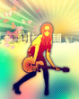 Designed music background in color  girl standing with guitar