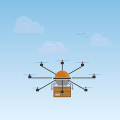 Drone carrying package