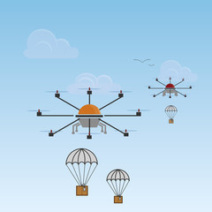 drone and parachute