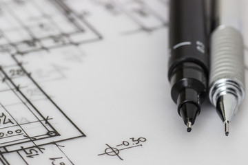 Pen on technical drawing