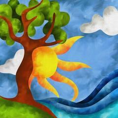 albero e sole