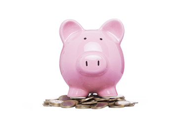 Piggybank with savings, isolated on white background