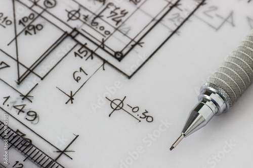 Mechanical pencil on technical drawing