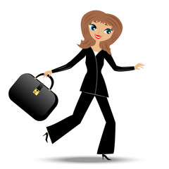 young business woman hurry on work
