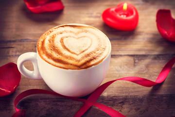 Valentine's Day Coffe or Cappuccino with heart on foam © Subbotina Anna