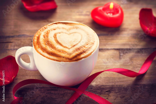 Valentine's Day Coffe or Cappuccino with heart on foam