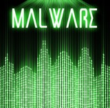 Malware with cyber binary code technology poster