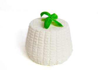 Ricotta with basil on white background