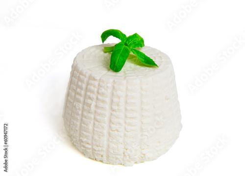Ricotta with basil on white background - 60947172