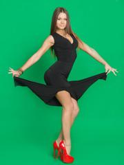 beautiful girl in a black dress